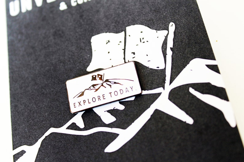 EXPLORE TODAY.  Enamel/Black Nickel Lapel Pin image 0