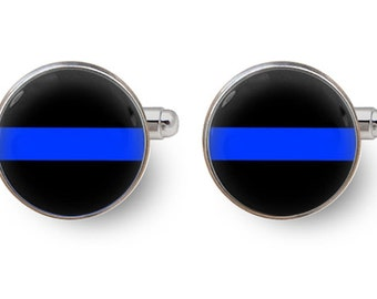 blue line cufflinks,blue line,police cufflinks,police officer gifts,,gift for him,policeman -with gift box