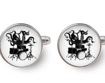 octopus playing drums cufflinks,drum kit cufflinks,drum cufflinks,musician cufflink, groomsmen,gifts for him,wedding,best man -with gift box