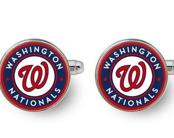 Washington Nationals,Washington,Nationals,sports cufflinks,sports,baseball cufflinks,fan,mlb,washington dc,baseball -with gift box