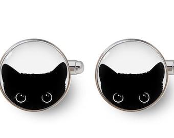 cat cufflinks,cat lover,peeking cat,peeking cat cufflinks,cat,black cat,kitten,kitty,black cat cufflinks,pet cufflinks -with gift box