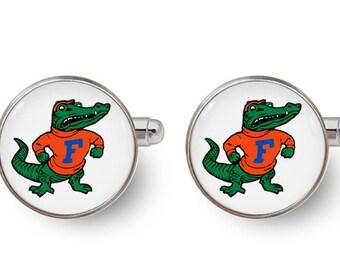 Florida Gators,Gators cufflinks,Univ Of Florida,Florida Gators cufflinks,sports,sports fan cufflinks,sports,best man -with gift box
