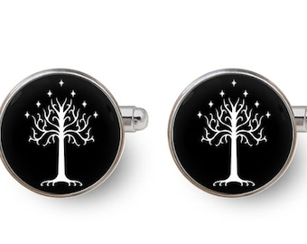 Tree of Gondor,tree cufflinks,white tree cufflinks,white tree of gondor,groomsmen gift,graduation,gift -with gift box