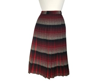 46b42722a Vintage Skirt 1950s Pendleton Plaid Pleated Wool in Reversible Turnabout  Design - 100% Virgin Wool - Red Black and Gray Plaid - XS/S