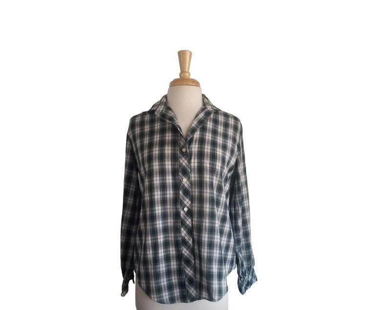 Vintage 1980s Blouse Plaid Navy Green and Yellow Button Down Shirt with Pearlescent Buttons and Long Sleeves by Casual Corner M