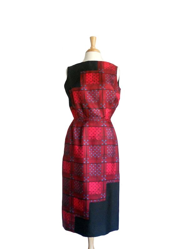 Vintage 1960s Dress Oleg Cassini Silk Patchwork Re