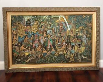 INDONESIAN Large Framed Wall Art Signed Bali Balinese KT Karwan Sorga Batuan & Indonesian wall | Etsy