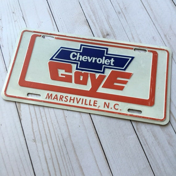 Vtg Dealer Tag Gaye Chevrolet Advertising Metal License Plate Marshville Nc Red