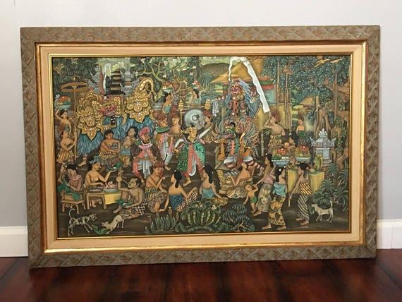 INDONESIAN Large Framed Wall Art Signed Bali Balinese KT | Etsy