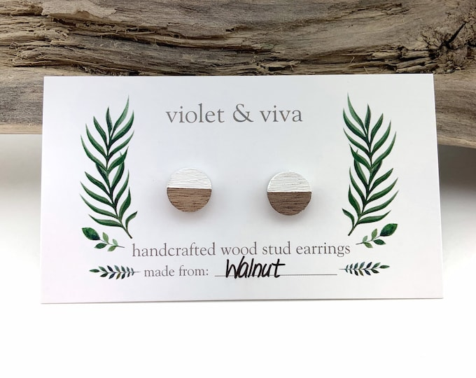 Dipped Walnut Wood Stud Earrings - Simply White