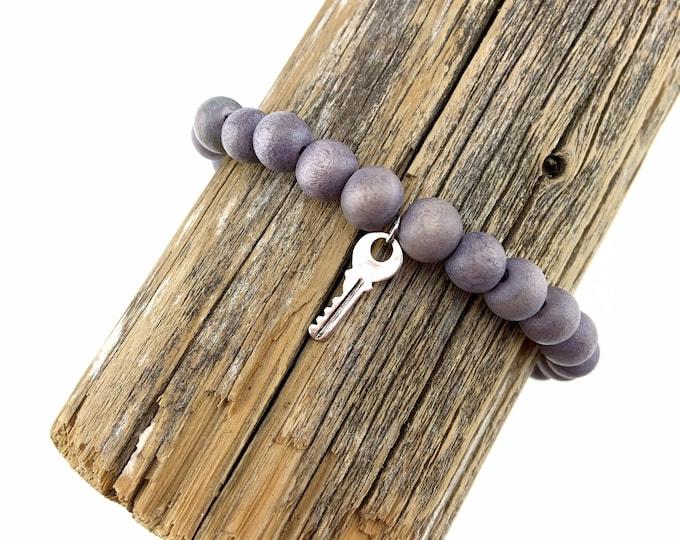 Wood Bead Bracelet with Silver Key Charm