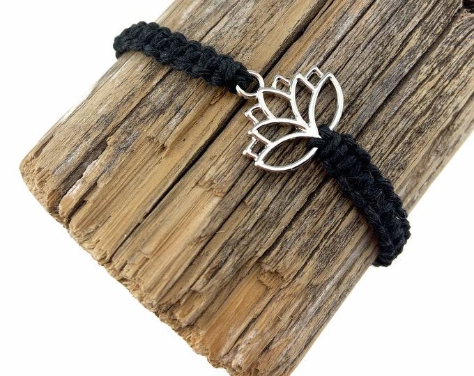 Silver Lotus Charm Macrame Bracelet