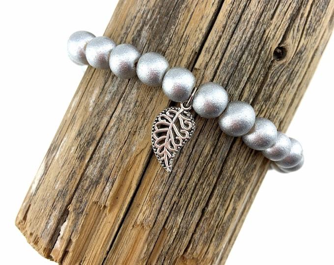 Wood Bead Bracelet with Silver Leaf Charm