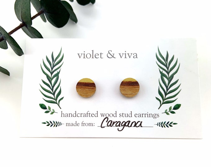 Caragana Wood Stud Earrings