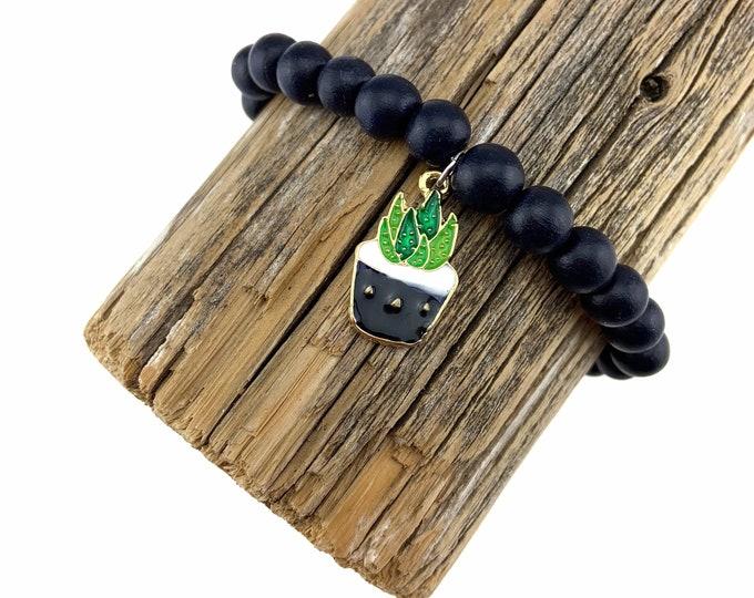 Wood Bead Bracelet with Succulent Charm