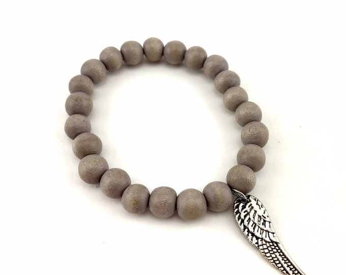 Wood Bead Bracelet with Silver Angel Wing Charm