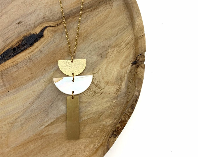 Double Half Moon Brass Necklace