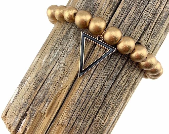 Wood Bead Bracelet with Black Triangle Charm