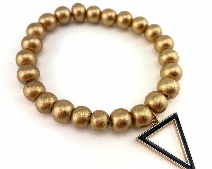 Wood Bead Bracelet | Wood Beads | Triangle Charm | Black Triangle | Custom Bracelet | Gold Beads