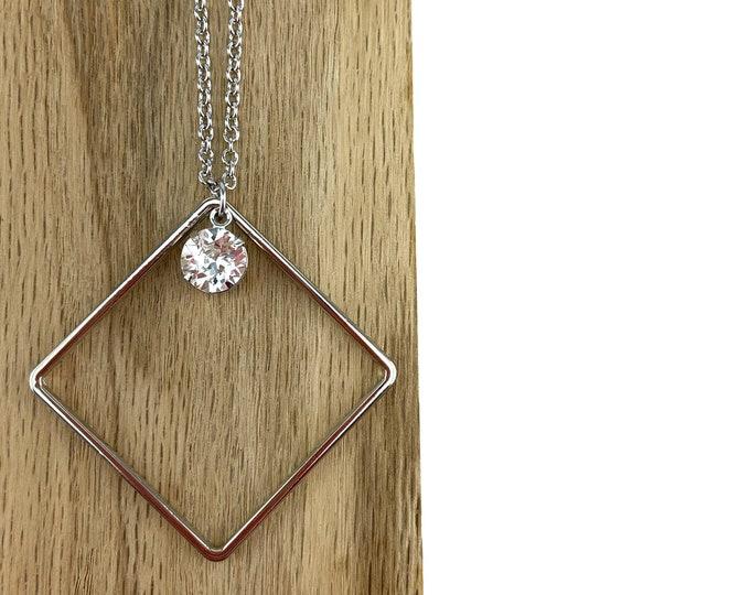 Silver Diamond Shape Necklace