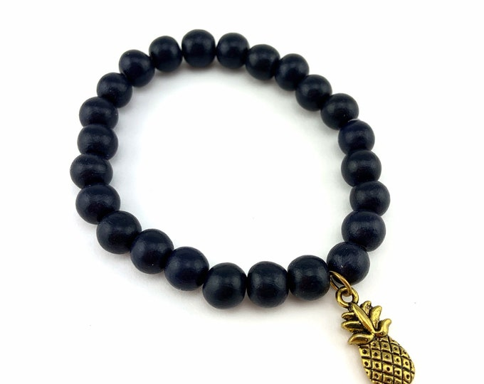 Wood Bead Bracelet with Gold & Black Pineapple Charm