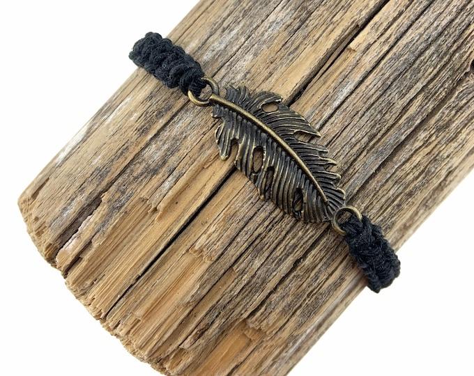 Feather Charm Macrame Bracelet