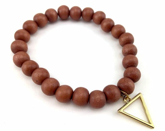 Wood Bead Bracelet with Triangle Charm