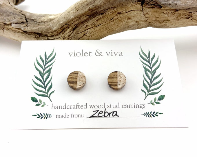 Dipped Zebrawood Stud Earrings