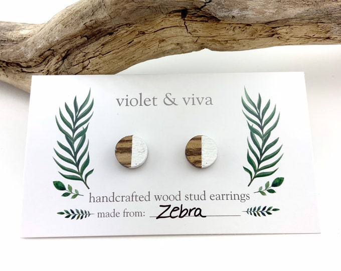 Dipped Zebrawood Stud Earrings - Simply White