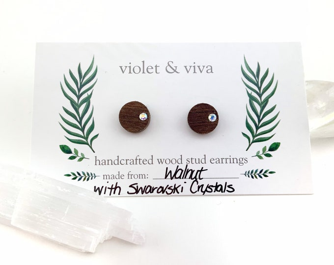 Walnut Wood Stud Earrings with Swarovski Crystals