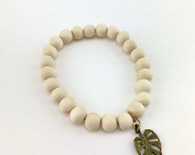 Wood Bead Bracelet with Monstera Leaf Charm