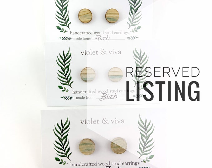 RESERVED LISTING - Green Birch Wood Stud Earrings