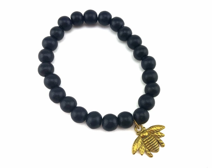 Wood Bead Bracelet with Bee Charm