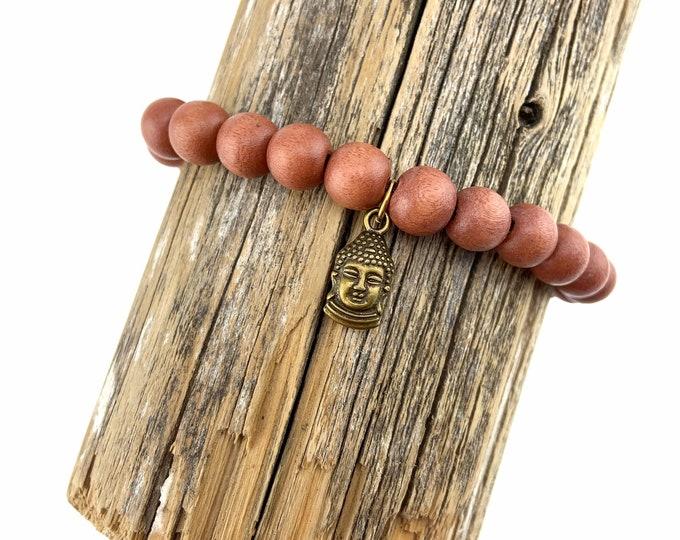 Wood Bead Bracelet with Buddha charm