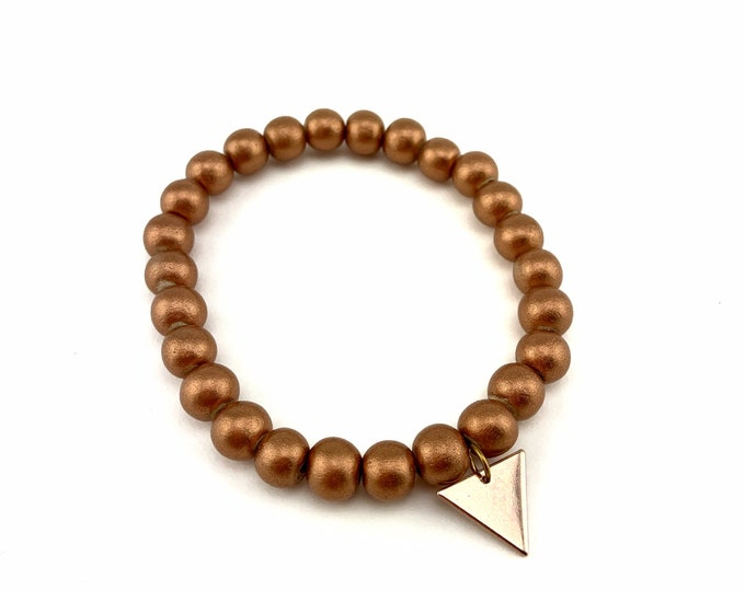Wood Bead Bracelet with Rose Gold Triangle Charm