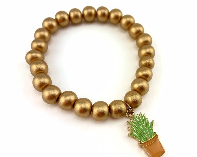 Wood Bead Bracelet with Plant Charm