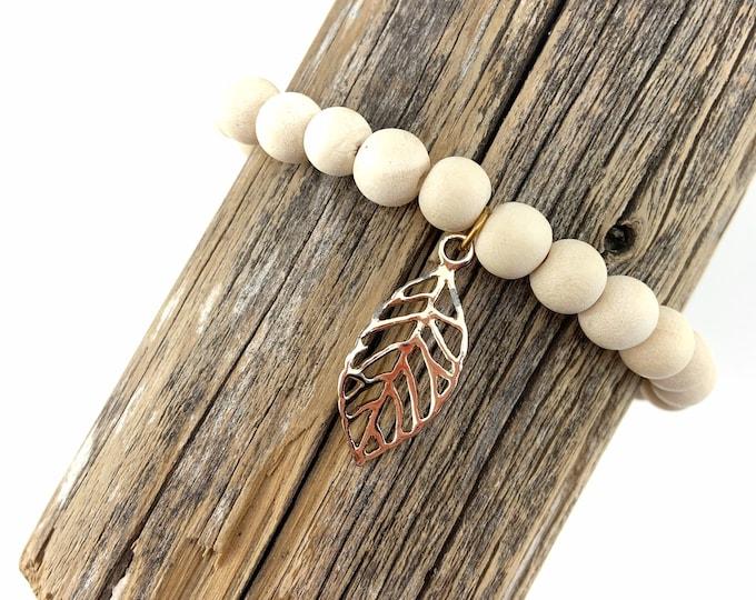 Wood Bead Bracelet with Leaf Charm