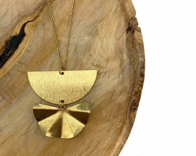 Wavy Half Moon Brass Necklace