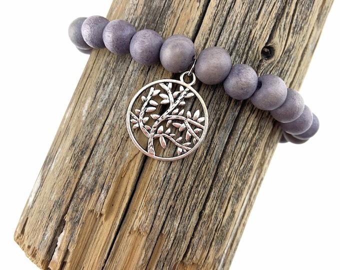 Wood Bead Bracelet with Tree Charm