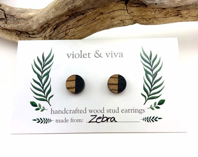 Dipped Zebrawood Stud Earrings - Sequin Black