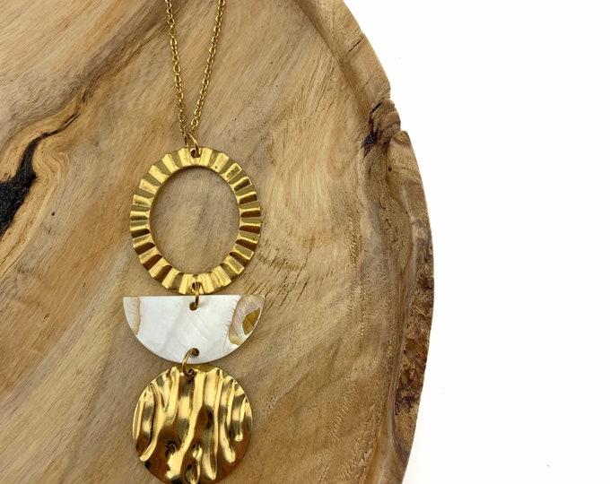 Crimped Trio Brass Necklace