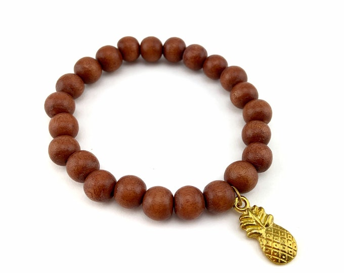 Wood Bead Bracelet with Gold Pineapple Charm