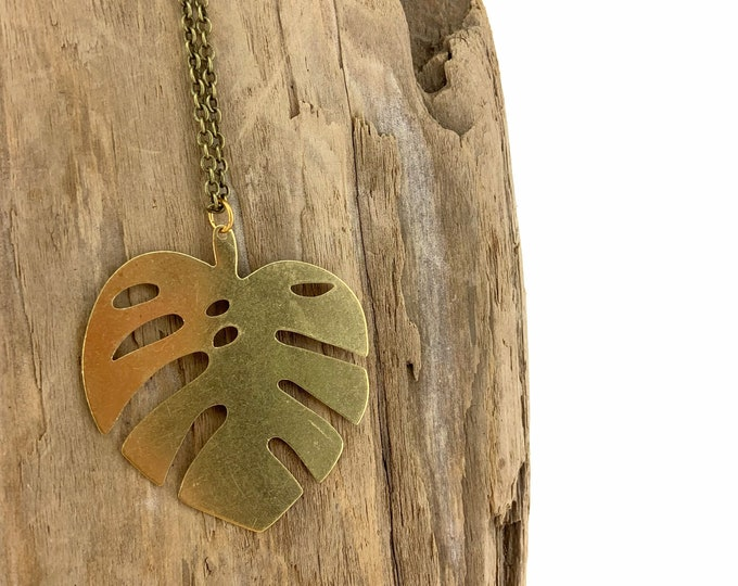 Raw Brass Monstera Leaf Necklace