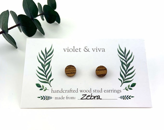 Zebra Wood Stud Earrings