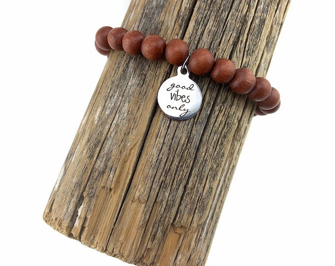 """Wood Bead Bracelet with """"Good Vibes Only"""" charm"""
