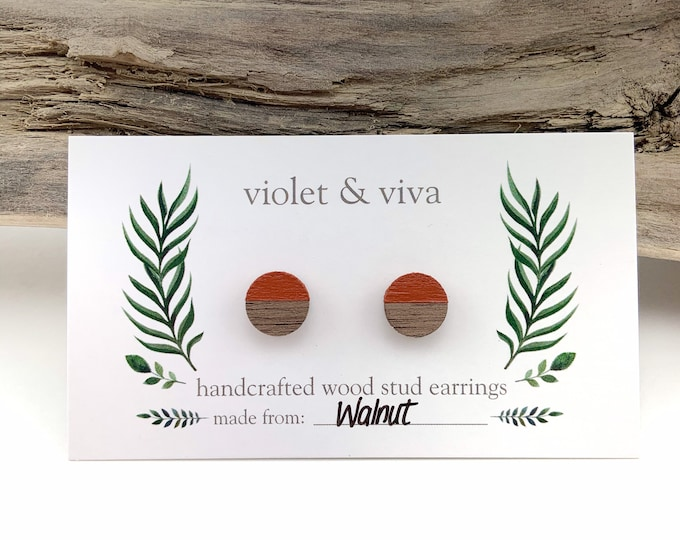 Dipped Walnut Wood Stud Earrings - Pumpkin
