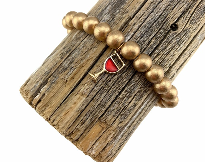 Wood Bead Bracelet with Red Wine charm
