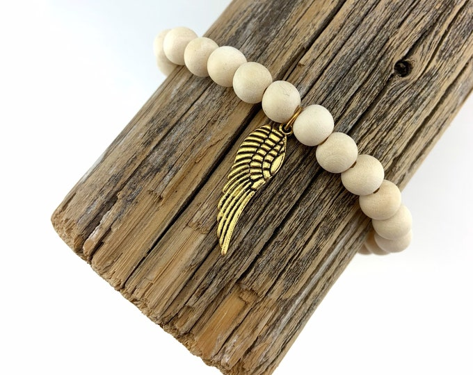 Wood Bead Bracelet with Antique Gold Angel Wing charm