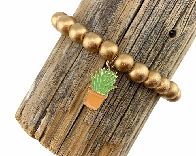 Wood Bead Bracelet with Potted Plant charm