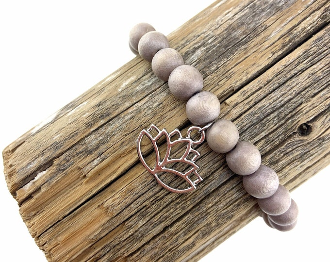 Wood Bead Bracelet with Lotus Charm